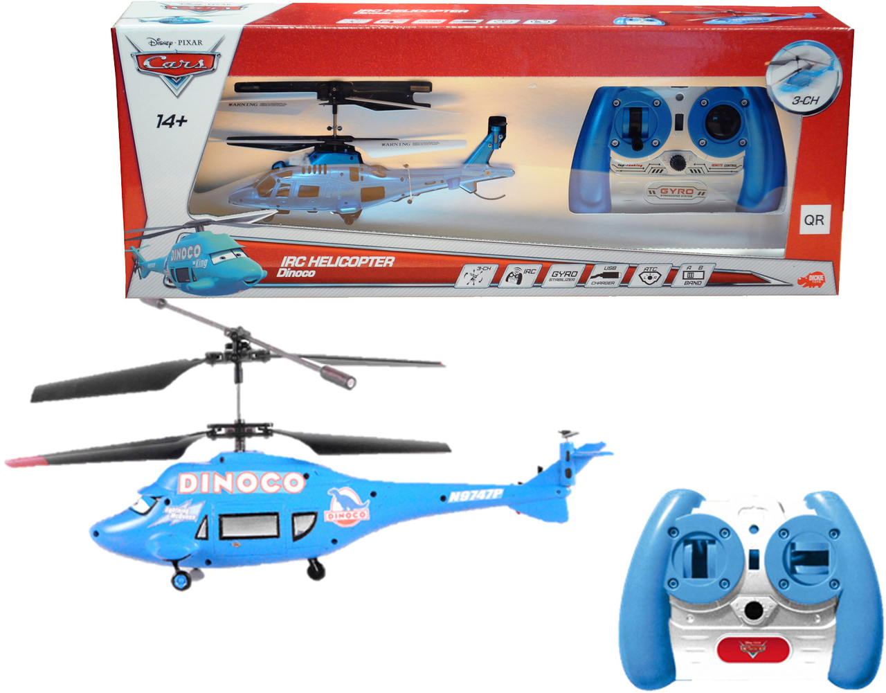 Super Disney Pixar Cars RC Dinoco Helikopter 19cm - Real Good Stuff BI-63
